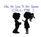 Call me. Young girl telling a young boy to call her concept in silhouette Stock Photography