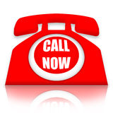 Call Now. Red telephone with Call Now inscription  over white background Royalty Free Stock Photography