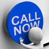 Call Now Button Shows Assistance And Support Center Stock Image