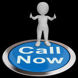 Call Now Button Shows Customer Support Helpline Royalty Free Stock Image