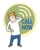 Call now. Label with a cartoon character talking on the phone vector illustration