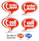 Call now, Order now speech bubbles Royalty Free Stock Image