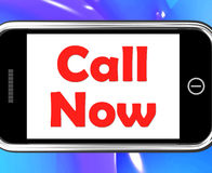 Call Now On Phone Shows Talk or Chat Stock Photos