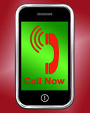 Call Now On Phone Shows Talk or Chat Royalty Free Stock Images