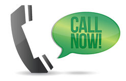 Call now phone sign illustration design. Over white Stock Image