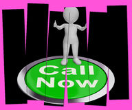 Call Now Pressed Shows Customer Support Helpline Royalty Free Stock Images