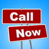Call Now Signs Means At The Moment And Chat Royalty Free Stock Photography