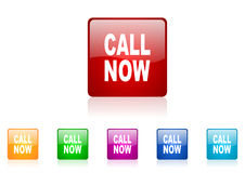Call now square web glossy icon Stock Images