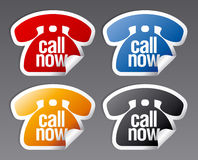 Call now stickers. Stock Photo
