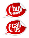 Call now stickers. Stock Photography