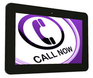 Call Now Tablet Shows Talk or Chat Stock Image