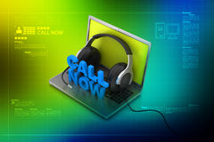 Call now text with laptop Stock Photography