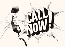 Call Now! Typographic retro grunge poster. Hand holds a telephone receiver. Vector illustration. Royalty Free Stock Photo