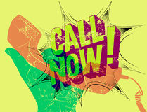 Call Now! Typographic retro grunge poster. Hand holds a telephone receiver. Vector illustration. Royalty Free Stock Photos