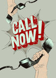 Call Now! Typographic retro grunge poster. Hands holds a telephone receivers. Vector illustration. Royalty Free Stock Photos