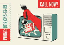 Call Now! Typographic retro poster. TV with a hand that is holding the telephone receiver. Vector illustration. Royalty Free Stock Images