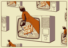 Call Now! Typographic retro poster. TV with a hand that is holding the telephone receiver. Vector illustration. Stock Photos