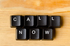 Call now words. With keyboard buttons Stock Image