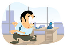 Call the office. Office clerk fleeing from a phone call Stock Illustration