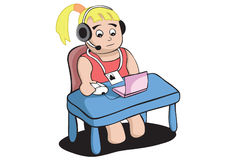 Call Operator Girl. Illustration of a cute girl having a little computer Stock Photography