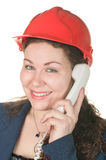 Call operator in hard hat Stock Photos