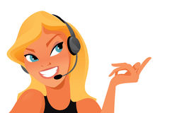 Call operator vector. Female call operator helping customer on the phone.  illustration on white background Stock Photo