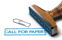 Call for papers oder Zusammenfassungen über weißem Hintergrund Stockfoto