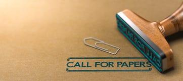 Call for papers oder Zusammenfassungen für Konferenz, Werkstatt oder Sitzung Stockbild