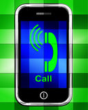 Call  On Phone Displays Talk or Chat Royalty Free Stock Image