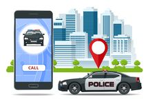 Call police app on smartphone screen. Emergency call use by smartphone. Sos mobile concept for web banner, web site. Infographics, vector illustration vector illustration