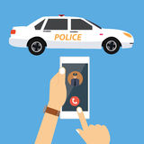 Call police car via mobile phone emergency Royalty Free Stock Images