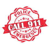 Call 911 Police emergency. Red grunge label. Print colors used Stock Photos