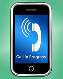 Call In Progress Message On Mobile Phone Royalty Free Stock Photos