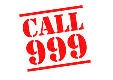 CALL 999. Red Rubber Stamp over a white background Stock Photos