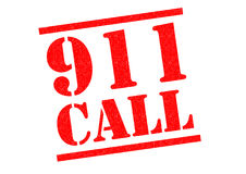 911 CALL Rubber Stamp. 911 CALL red Rubber Stamp over a white background Stock Photo