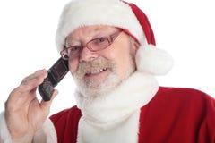 Call santa. Xmas background: Santa Claus, gifts royalty free stock photos