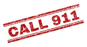 Scratched Textured CALL 911 Stamp Seal. CALL 911 seal print with grunge texture. Red vector rubber print of CALL 911 tag with grunge texture. Text tag is placed royalty free illustration