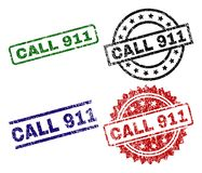 Grunge Textured CALL 911 Stamp Seals. CALL 911 seal prints with damaged surface. Black, green,red,blue vector rubber prints of CALL 911 caption with unclean Stock Illustration