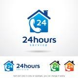 Call Service 24 Hours Logo Template Design Vector. This design suitable for logo or icon Stock Photos