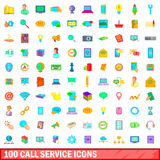 100 call service icons set, cartoon style Royalty Free Stock Image