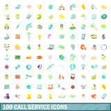 100 call service icons set, cartoon style Stock Image