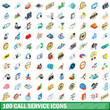 100 call service icons set, isometric 3d style Stock Images