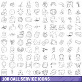 100 call service icons set, outline style. 100 call service icons set in outline style for any design vector illustration Stock Image