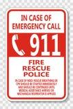 symbol Call 911 Sign on transparent background stock illustration