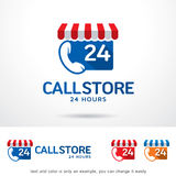 Call Store 24 Hours Logo Template Design Vector. This design suitable for logo or icon Royalty Free Stock Image