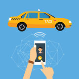Call taxi cab from mobile phone application online. Call taxi cab from mobile phone application technology online Stock Photography