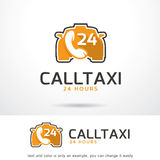 Call Taxi 24 Hours Logo Template Design Vector Stock Photo