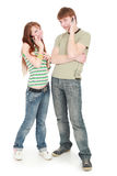 Call teens. Two studentss with cellphones over white Royalty Free Stock Images