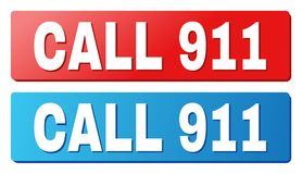 CALL 911 Title on Blue and Red Rectangle Buttons. CALL 911 text on rounded rectangle buttons. Designed with white caption with shadow and blue and red button Vector Illustration