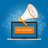 Call to action button marketing online design page. Call to action button vector illustration laptop with megaphone Royalty Free Stock Images